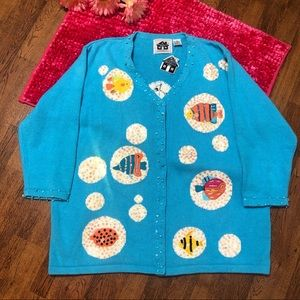 Storybook Knits FISH Plus Cardigan Sweater 1x